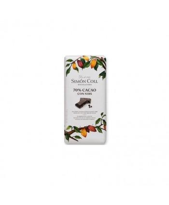 SIMON COLL CHOCOLATE 70% CACAO CON NIBS 10X85GR.