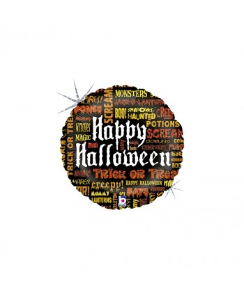 "GLOBO FOIL 18"" REDONDO HAPPY HALLOWEEN SCARY WORDS"