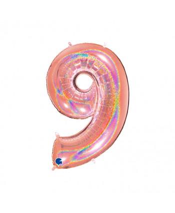 """GLOBO FOIL 40"""" GLITTER HOLOG. ROSA-Nº9"""