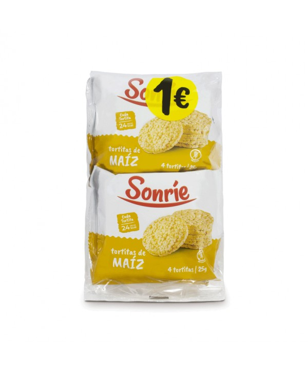 SONRIE TORTITAS DE MAIZ 4X25GR.