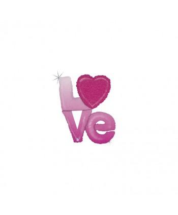 """GLOBO FOIL 39"""" 99CM HOLOGRAFICO ROSA  """"LOVE"""""""