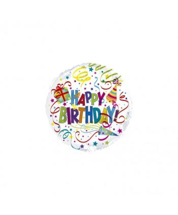 "GLOBO FOIL 17"" 43CM REDONDO ""HAPPY BIRTHDAY"""