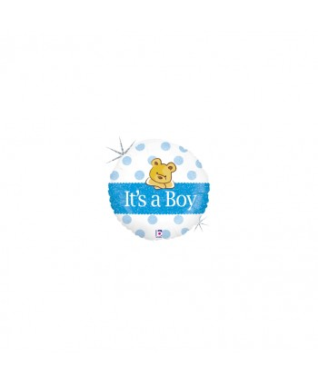 """GLOBO FOIL 18"""" 46CM REDONDO OSO """"ITS A BOY"""""""